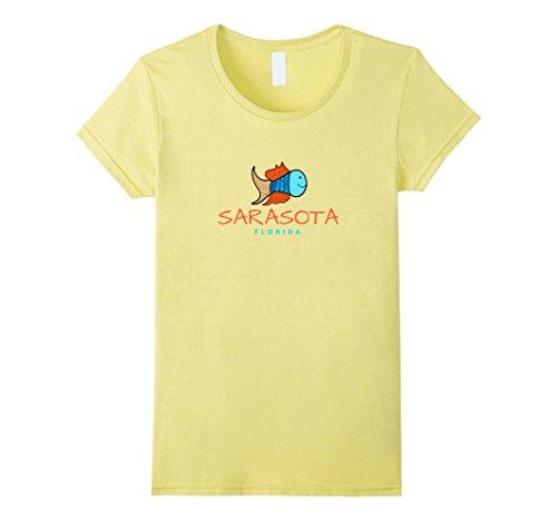 Womens Sarasota Florida T-Shirt, Fun Cute Fish Florida Tee Small - Women Sarasota