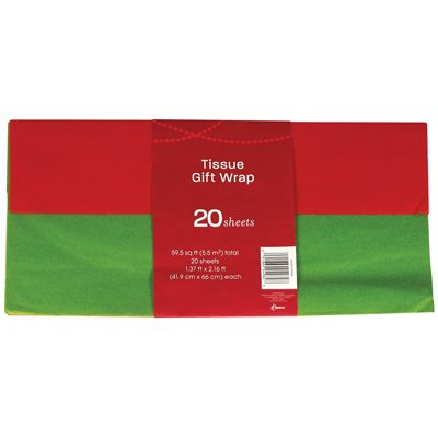 Red & Green Holiday Tissue Paper (Solid Colors), Pack of 20 sheets