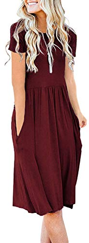 Naggoo Womens Short Sleeve Pleated Loose Swing Casual Dress with Pockets Knee Length Wine Red -