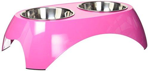Petmate 14.5 oz Italia Raised Double Bowl, Medium, Pink