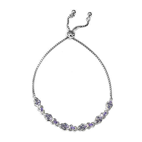 (Shop LC Delivering Joy Mix Metal Marquee Cubic Zircon Purple Made with Swarovski Crystal Tanzanite Bolo Bracelet Cttw 1.1)