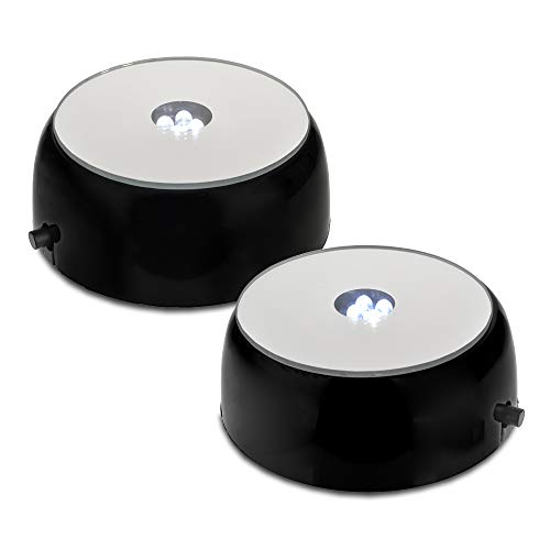 Santa Cruz Mirror Top 4 LED Round White Light Stand Base for Crystals/Glass Art (Pack of 2) ()