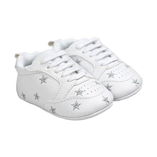 Baby Boy Girl Slip-on Stars Sneakers Anti-Slip Soft Sole First Walkers Crib Shoe Silver Size M