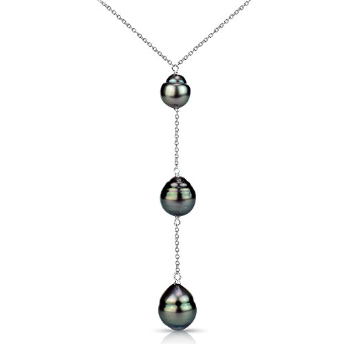 Baroque Pearl Chain Necklace (Sterling Silver Baroque Tahitian Cultured Pearl Y Chain Necklace 17 inch 8.5-9mm)