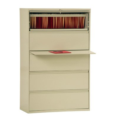Sandusky Lee LF8F425-07 800 Series 5 Drawer Lateral File Cabinet, 19.25'' Depth x 66.375'' Height x 42'' Width, Putty by Sandusky