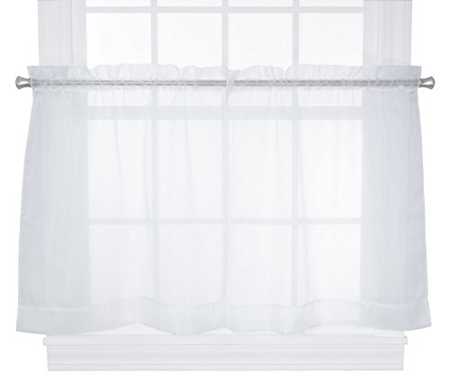 (Ellis Curtain Jessica Sheer Tailored Tier Curtains, 54 by 24-Inch, White )