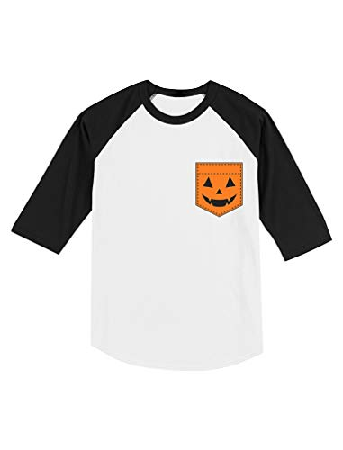 Jack O' Lantern Halloween Pumpkin Pocket Toddler Raglan 3/4 Sleeve Baseball Tee 2T Black/White
