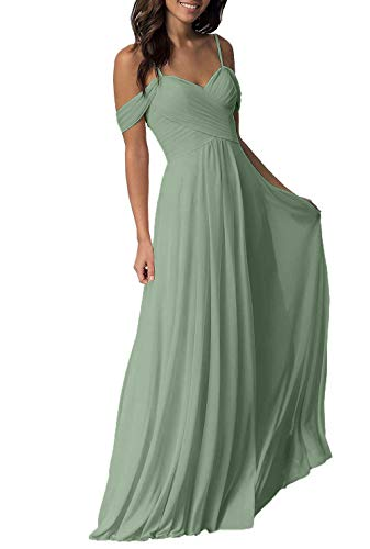 Sage Wedding Bridesmaid Dress for Women Long Off The Shoulder Pleated Chiffon Formal Dress for Women for Women