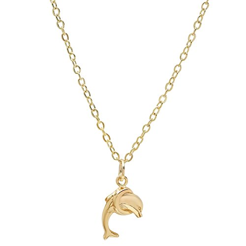 (Pori Jewelers 14K Yellow Gold Dolphin Pendants in Diamond Cut 14K Gold Cable Chain Necklace -18