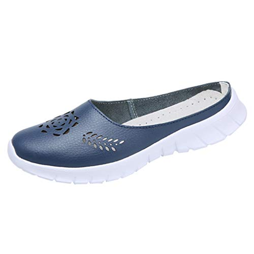 Respctful✿Women's Casual Slip-On Shoes Mules Flat Closed Toe Loafer Ladies Fashion Breathable Slippers Shoes Blue -