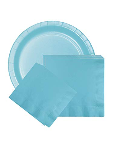 Pastel Blue Party Decoration Supplies- Disposable Dinnerware Set- Serves 24- for Receptions, Rehearsals, Baby Showers-Includes Banquet Paper Plates, Dinner Napkins, Beverage Napkins, 99 Piece Bundle
