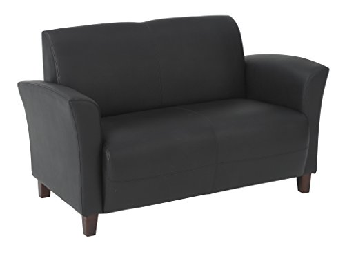 Office Star Breeze Bonded Leather Loveseat with Cherry Finish Legs, Black - Thick padded seat and back Black eco leather Cherry finish legs - sofas-couches, living-room-furniture, living-room - 31UTl2LHYTL -