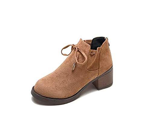 Qiusa High Heels Thick mit Martin Stiefel Stiefeletten mit mit mit Einem Wildlederbogen und Samt (Farbe   Khaki, Größe   39) 5a007b