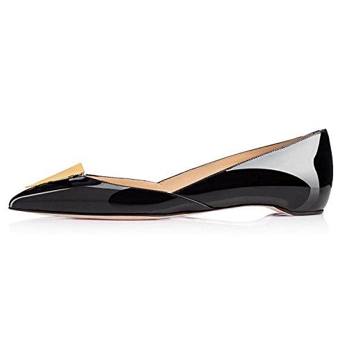 Arc-en-ciel zapatos de mujer en punta de charol plana Negro