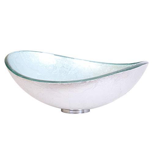 Hand Painted Foil Boat Shaped Oval Bowl Bottom Vessel Bathroom Sink Sink Finish: Silver -