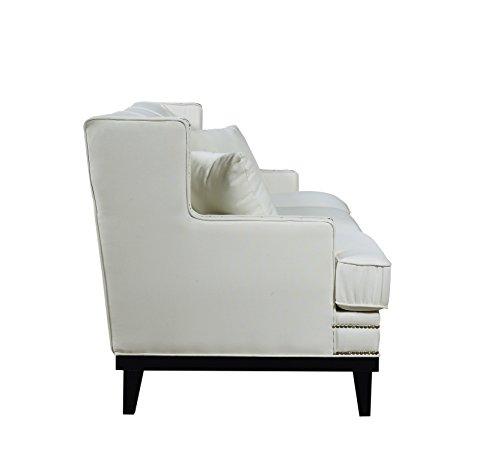Classic traditional linen sofa w nailhead trim beige
