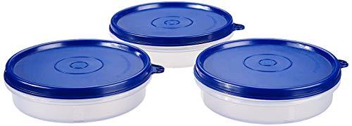 Amazon Brand – Solimo Plastic Lunch Box Set, 190 ml, Set of 3, Blue