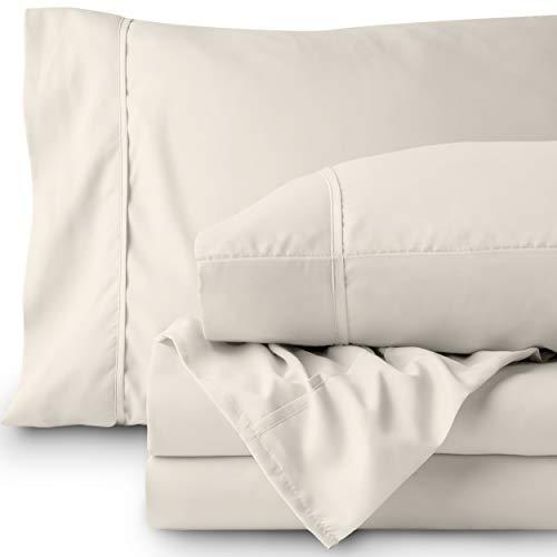 Bare Home Premium 1800 Ultra-Soft Microfiber Sheet Set Full Extra Long - Double Brushed - Hypoallergenic - Wrinkle Resistant (Full XL, Ivory)