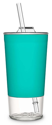 Ello Tidal Glass Tumbler with Straw, 20 oz, Mint -