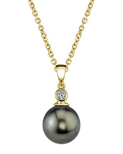 THE PEARL SOURCE 14k Gold 9-10mm Round Black Tahitian South Sea Cultured Pearl & Diamond Michelle Pendant Necklace for - 14k Necklace South Sea