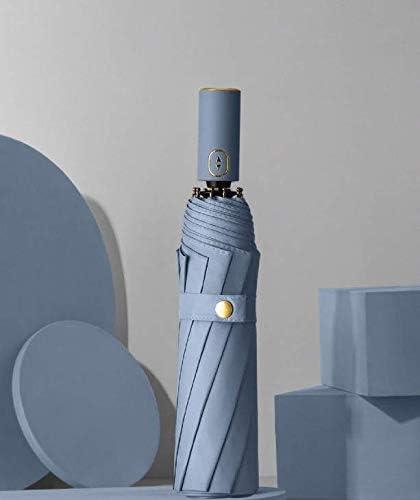 Parapluie pliable automatique pour pluie Parapluie compact avec protection UV Petit parapluie bleu. neige et soleil r/ésistant aux vents forts