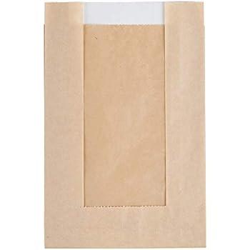 Amazon.com: 50 bolsas de papel Kraft con ventana ...