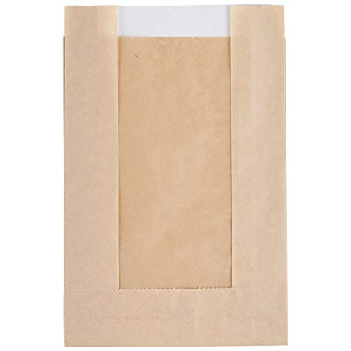 """Bakery Bag with Window for Cookies Or Other Pastries, 5"""" x 7"""" Brown Kraft Paper Bags (100)- Cookie Bags- Pastry Bags- Bakery Bags- Paper Treat Bags- Mini Paper Bags- Trail Mix Bags"""