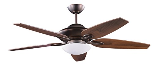 Kendal Lighting AC14452-ARB Treville 52IN 5-Blade Up/Down Light Ceiling Fan with Royal Walnut Blades and Opal White Glass Light, Architectural Bronze Finish