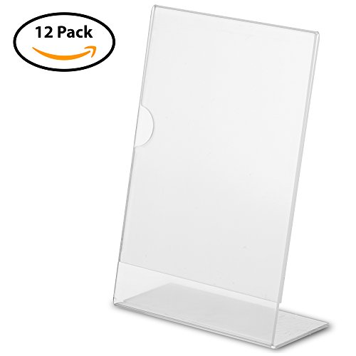 Ultimate 12 Pack of 6in x 4in Acrylic Sign Holders Set By Alpha & Sigma - Durable & Self-Standing Plexiglass Picture Frames, Clear Document, Menu & Image Stands, Lightweight & - Alpha Frames Glasses