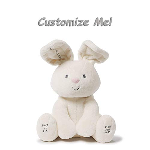 GUND Cute Custom Personalized 12 Inches Flora The Bunny Animated Plush Stuffed Animal, Best Cuddle Toy Gift for Family Love Ones - Cream