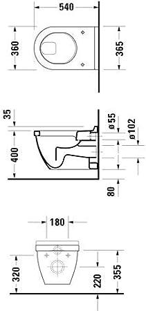 Duravit Inodoro plano de pared Duravit STARCK 3 blanco WonderGliss