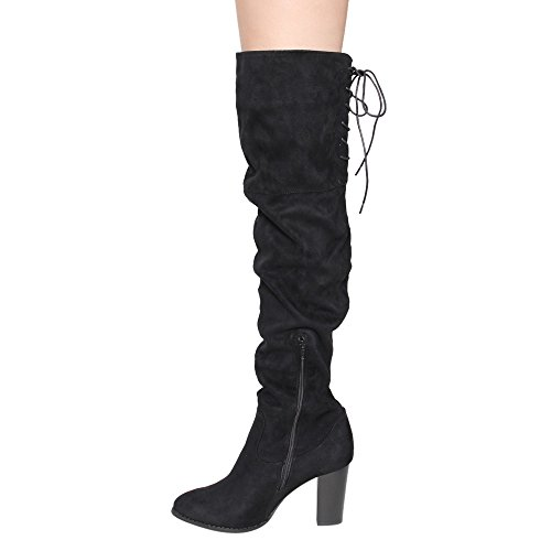 Qupid Zink-01 Frauen Lace Up Zurück Stretchy Overknee Stacked Chunky Boots Schwarz