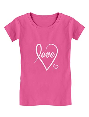 Tstars – Love Cursive Heart Valentine's Day Girls' Fitted Kids T-Shirt