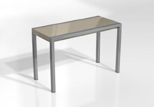 MESA EXTENSIBLE CONCEPTMINOR - Encimera Cristal Tortola Brillo/Patas Aluminio, 115X52 cms: Amazon.es: Hogar
