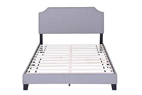 FLIEKS Harper&Bright Designs Upholstered Platform Bed Frame with Nailhead Trim Headboard and Wood Slats, Queen Size