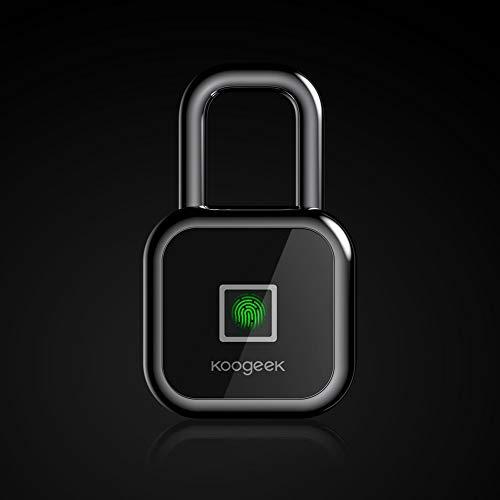 Fingerprint Lock, Koogeek Bluetooth Smart Keyless Biometric Padlock Works with Apple HomeKit, USB Charging Bag Padlock Suitable for Gym School Locker,Backpack,Suitcase,Travel Luggage,Bike, Cabinet ()