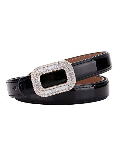 Black Rhinestone Buckle - 【CaserBay】Women's Fashion Elegant Shiny Rhinestone Buckle Skinny Patent Leather Belts Waistband【Black】