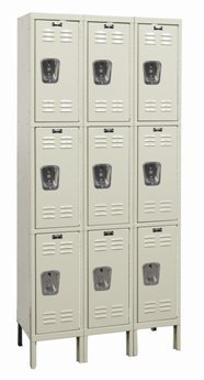 Hallowell (List Industries), Assembled One Column Wide Corrosion Resistant Triple Tier Locker, Cor-Res-3T1Wcsu, Opening Size Wxdxh: 12 X 18 X 24, Oa Height: 78, Weight: 66, Color: Beige, U1288-3G-A