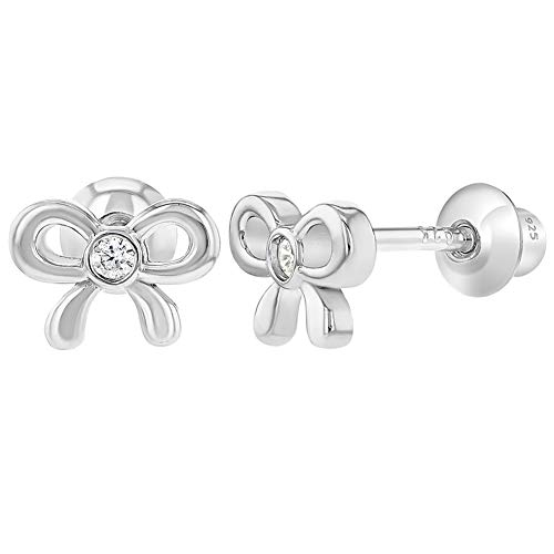 925 Sterling Silver Clear CZ Tiny Bow Screw Back Earrings Baby Toddlers Girls