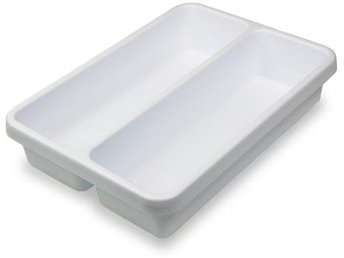 TrippNT 50159 White Polystyrene Plastic Drawer Organizer, 2 Pocket: 14'' Width x 3'' Height x 10'' Depth by TrippNT