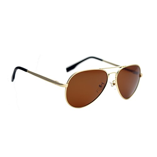 Zacway Small Polarized Spring Hinges Metal Aviator Sunglasses UV400 52mm (Gold Frame/Brown Lens, - Small Aviator
