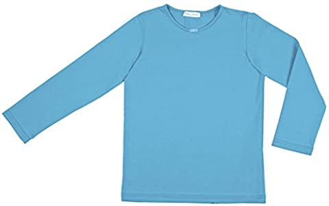 Petite Amelia Little Girls Long Sleeve Bow Tie Top, Size 6, Light Turquoise Blue - Turquoise Girls Shirt