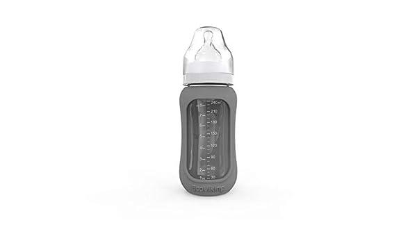 Botellas de cristal para beb/é Ecoviking 240 ml, con funda de silicona color gris