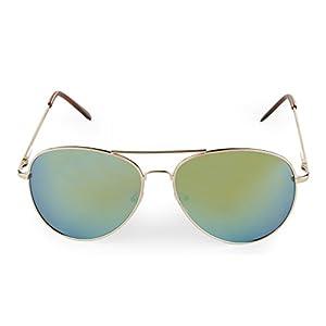 E&H Classic Designer Aviator Sunglasses Military Style Metal Frame Unisex Full Mirror Lens, 100% UV Protection,