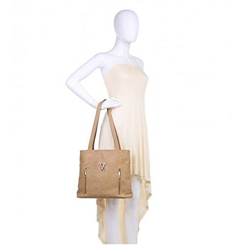 Quality Large Faux Tote Bag Leather Apricot Bags Women London For Women's Craze Shoulder Soft Handbags v7088Fq