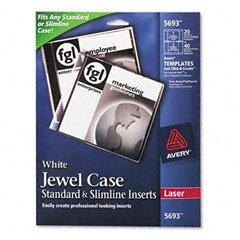 Avery® CD/DVD White Matte Jewel Case Inserts for Laser Printers, - Cd Dvd White Matte