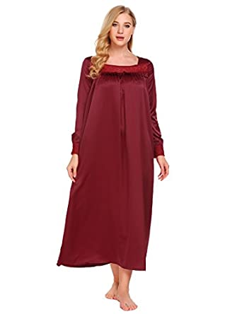 Vintage Inspired Nightgowns, Robes, Pajamas, Baby Dolls Ekouaer Long Sleeve Victorian Nightgown Sexy Sleepwear Maxi Dress For Women (S-XXL) $27.99 AT vintagedancer.com