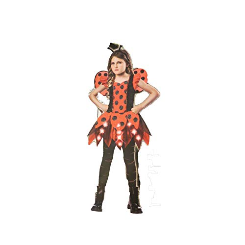 Punky Bug Lady Bug Girls Costume Medium 8-10 Optional Light up May Need Replacement Batteries