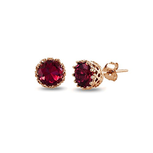 Rose Gold Flashed Sterling Silver Created Red Ruby Crown Stud Earrings