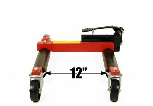 (4) Dragway Tools Hydraulic Wheel Dolly 12'' Wide Lift Jack Hoist 1500 lb Shop Tool Foot Pump and Storage Stand by Dragway Tools (Image #3)